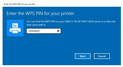 where do find wps pin location on a printer