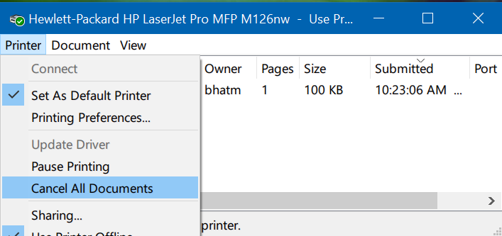 how to clear printer queue windows 10