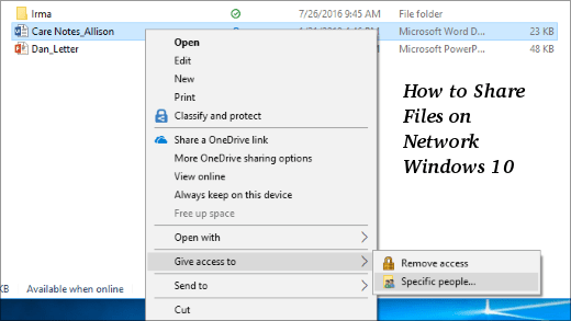 How to Share Files on Network Windows 10