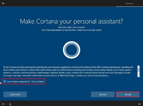 Cortana Setup Windows 10