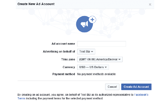 how to set up a facebook advertising account