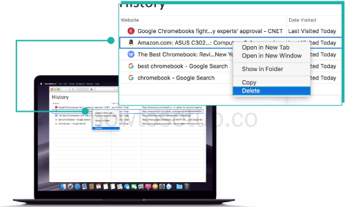 how to clear specific Safari history items