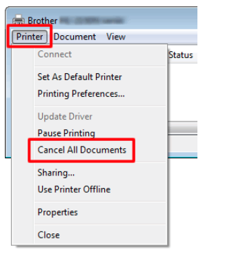 Deleting the print jobs