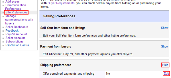 how to combine shipping on Ebay