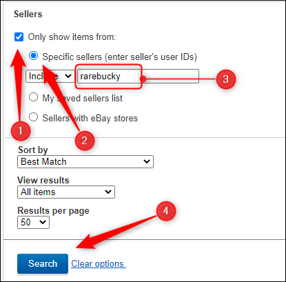 how to search for a seller on eBay